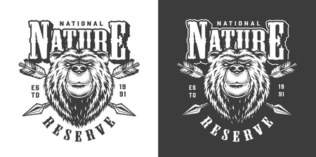 Vintage monochrome national park emblem with serious bear head and crossed arrows isolated vector illustration Illusztráció