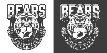 Football team angry bear mascot emblem with grizzly keeps soccer ball in his mouth in vintage monochrome style isolated vector illustration Standard-Bild - 118473283