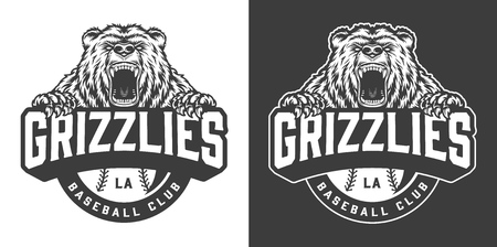 Baseball club ferocious bear mascot emblem in vintage monochrome style isolated vector illustration