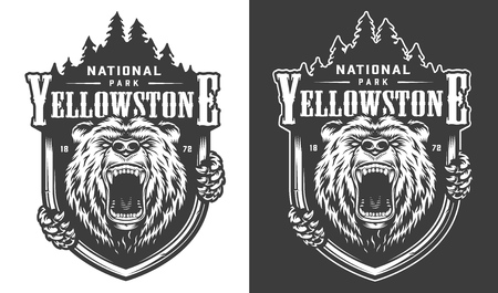 El diseño monocromático del vintage del parque nacional de Yellowstone con el oso feroz y la silueta del bosque aislaron el ejemplo del vector