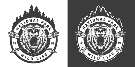 Vintage monochrome national park round emblem with angry bear and crossed arrows isolated vector illustration Illustration