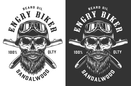 Biker skull in helmet and goggles emblem with crossed razor blades in vintage monochrome style isolated vector illustration Illustration