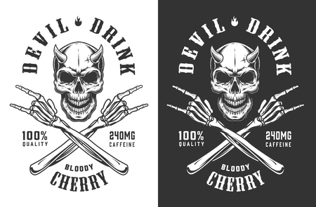 Vintage monochrome demon skull print with crossed skeleton hands showing rock and roll signs isolated vector illustration