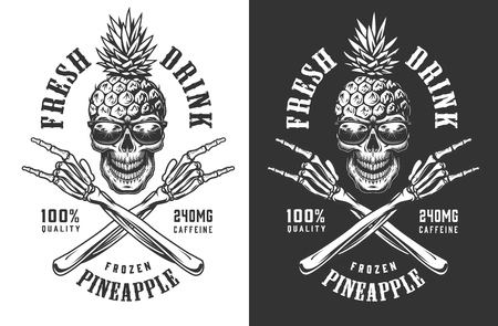 Pineapple skull in sunglasses vintage label with crossed skeleton hands showing rock gestures in monochrome style isolated vector illustration