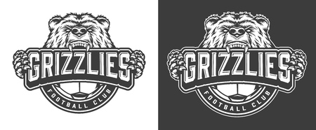 Angry bear football club mascot label in vintage monochrome style isolated vector illustration Illusztráció