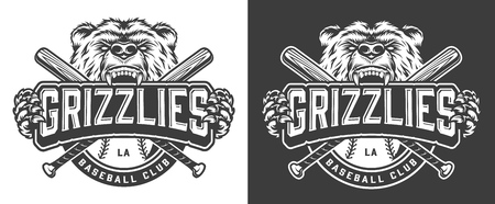 Grizzly bear mascot vintage badge with crossed baseball clubs in monochrome style isolated vector illustration