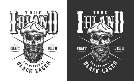 Bearded and mustached irish skull label with tweed cap in vintage monochrome style isolated vector illustration