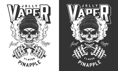 Vaper skull in beanie hat print with skeleton hands holding crossed vaporizers in vintage monochrome style isolated vector illustration Illustration
