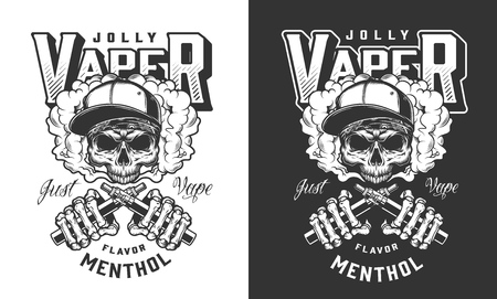 Vintage monochrome vaping label with skull in baseball cap and skeleton hands holding vaporizers isolated vector illustration