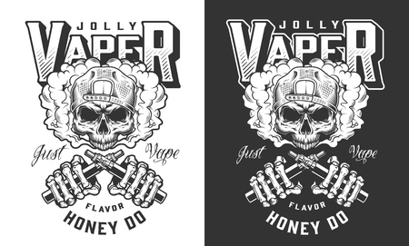 Vintage monochrome vaping emblem with skull wearing hipster cap in smoke cloud and skeleton hands holding electronic cigarettes isolated vector illustration Illustration