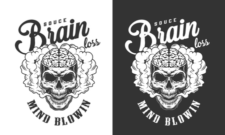 Skull with human brain label in smoke cloud in vintage monochrome style isolated vector illustration Foto de archivo - 118473358