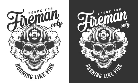 Vintage skull wearing fireman helmet badge in smoke cloud in monochrome style isolated vector illustration