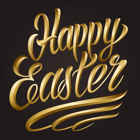 Calligraphic Happy Easter lettering template on dark background isolated vector illustration Иллюстрация