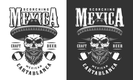Bearded and mustached mexican skull emblem with sombrero and maracas in vintage monochrome style isolated vector illustration