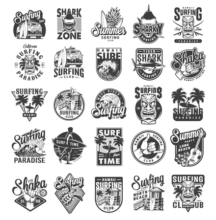 Vintage surfing sport labels with man holding surfboards sharks surfers house palms sea waves fruits ukulele hibiscus flowers travel van shaka hand sign turtle isolated vector illustration