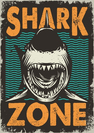 Vintage dangerous zone for surfing concept with angry shark on sea waves background vector illustration