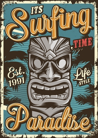 Vintage surfing colorful poster with tribal hawaiian tiki mask vector illustration