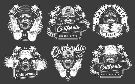 Emblemas de skate vintage con gorilas en gorro hipster sombreros de Panamá gafas de sol sosteniendo patinetas ilustración vectorial aislada Ilustración de vector