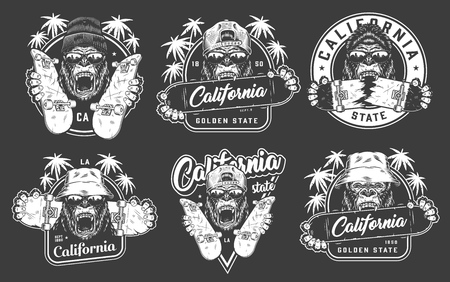 Vintage skateboarding emblems set with gorillas in hipster cap beanie panama hats sunglasses holding skateboards isolated vector illustration 写真素材 - 120593463