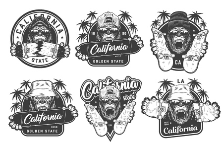 Vintage monochrome summer skateboarding labels with angry ferocious gorilla heads in beanie panama hats hipster cap skateboards and palm trees isolated vector illustration