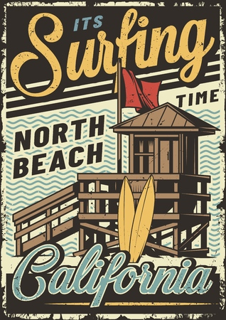 VIntage colorful surfing sport poster with surf house and surfboards on sea waves background vector illustration