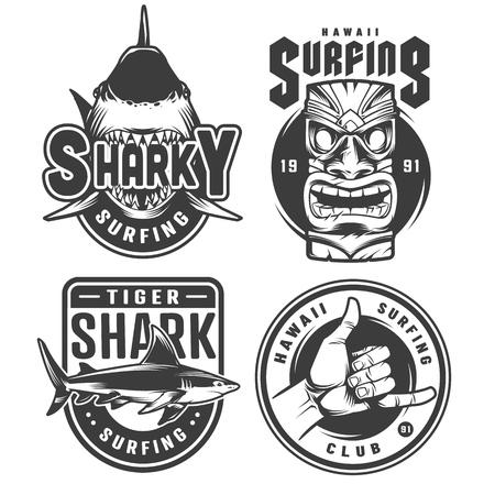 Vintage surfing monochrome emblems with sharks hawaiian tiki mask and surfer shaka hand sign isolated vector illustration Illustration