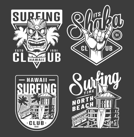 Vintage monochrome surfing club labels with hawaiian tiki mask shaka hand sign surfer house isolated vector illustration