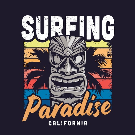 Plantilla de paraíso de surf colorido vintage con máscara de tiki tribal tradicional hawaiana y palmera aislada ilustración vectorial Ilustración de vector
