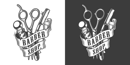 Vintage barbershop label with barber pole scissors and straight razor in monochrome style isolated vector illustration