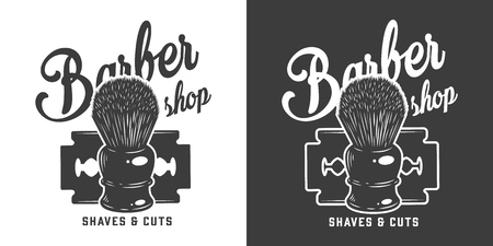 Vintage barbershop monochrome with razor blade and shaving brush isolated vector illustration