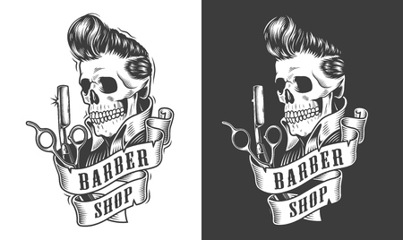 Vintage barbershop monochrome   with scissors razor and skull with stylish hairstyle isolated vector illustration