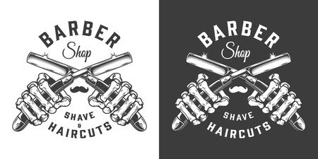 Vintage barbershop emblem with skeleton hands holding razors in monochrome style isolated vector illustration