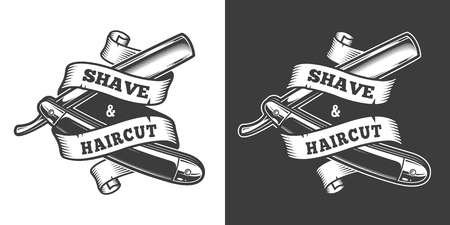 Vintage barbershop label with barber razor and ribbon around it on light and dark backgrounds isolated vector illustration Ilustrace