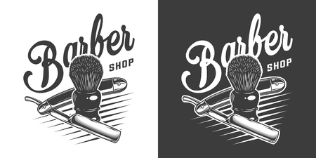 Monochrome barbershop badge with razor blade and shaving brush in vintage style isolated vector illustration Ilustrace