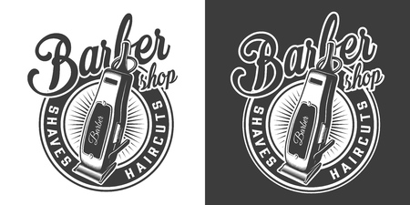 Barbershop round emblem with electric hair clipper in vintage monochrome style isolated vector illustration