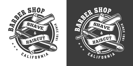 Vintage barbershop monochrome print with ribbon around straight razor isolated vector illustration