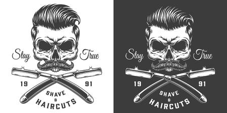 Vintage monochrome barbershop label with crossed barber razors and hipster skull with mustache and stylish hairstyle isolated vector illustration
