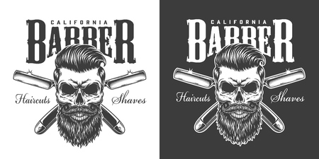 Vintage barbershop monochrome print with bearded and mustached skull and crossed straight razors isolated vector illustration
