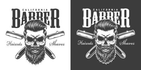 Vintage Barbershop monochromer Druck mit bärtigem und schnurrbärtigem Schädel und gekreuzten Rasiermessern isolierte Vektorillustration