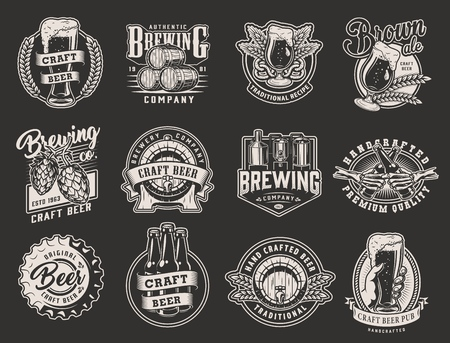 Vintage monochrome brewery emblems with hop cones brewing machine barley ears pretzel wooden barrel beer glasses bottles metal cap isolated vector illustration Иллюстрация