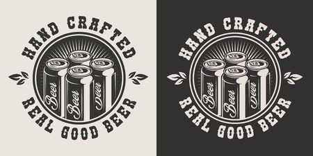 Emblema del birrificio vintage con lattine di birra artigianale in stile monocromatico isolato illustrazione vettoriale Vettoriali