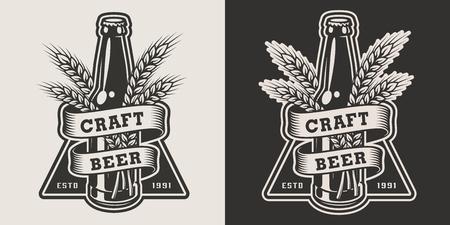 Emblema di birra artigianale monocromatica vintage con bottiglia di vetro e orecchie d'orzo isolate illustrazione vettoriale