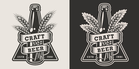 Vintage monochrome craft beer emblem with glass bottle and barley ears isolated vector illustration
