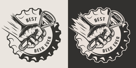 Monochrome brewery vintage print with beer cap and male hand holding bottle opener isolated vector illustration Illustration
