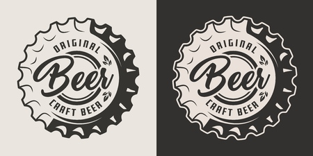 Vintage craft beer monochrome badge with bottle cap isolated vector illustration
