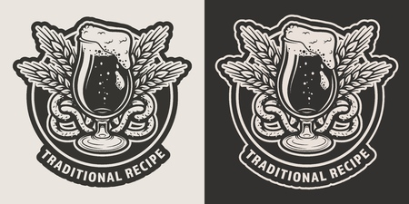 Vintage brewing monochrome label with beer glass wheat eats pretzel on dark and light backgrounds isolated vector illustration