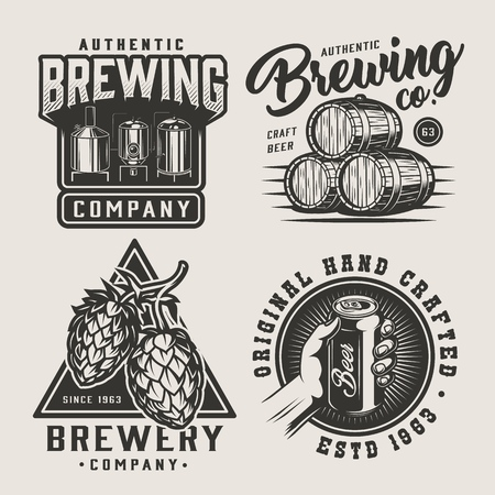 Vintage beer monochrome emblem set with brewing equipment wooden barrels hop cones hand holding beer can isolated vector illustration Stock Illustratie