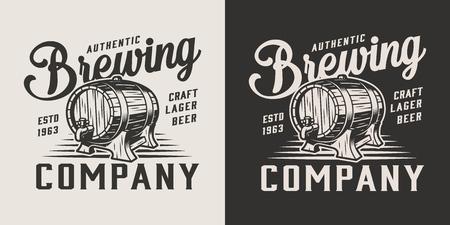 Logo vintage monocromatico della società di produzione di birra con barilotto di birra in legno con illustrazione vettoriale isolata di rubinetto