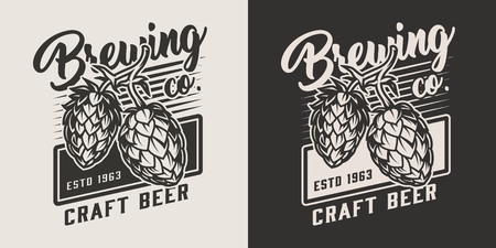 Vintage craft beer emblem with hop cones in monochrome style isolated vector illustration Иллюстрация