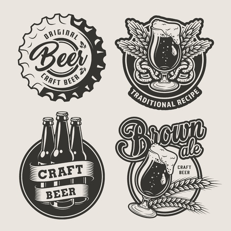 Vintage brewing set with beer cap glasses bottles barley ears and pretzel on light background isolated vector illustration